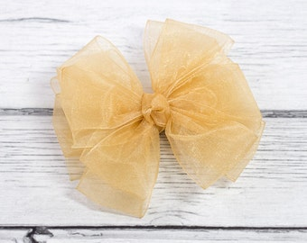 Gold Organza Layered Boutique Bow