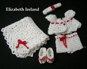 OOAK Crochet Doll Outfit 5-pc.Winter White/Red for waist sz 8.5cm-10cm, doll sz: 5 inch to 8 inch/12.5-20cm