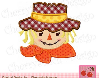 Scarecrow  Applique,Autumn Embroidery Design,Thanksgiving Embroidery Design-for 4x4 5x7 6x10 Hoop-Machine Embroidery Applique Design