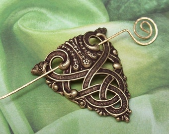 Celtic Shawl Pin, Gold Celtic Scarf Pin, Celtic Hair slide, hammered, brass sweater pin, fall fashion, shawl pins, oxidized, matte
