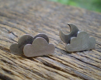Moon and clouds stud earrings- asymmetrical sterling silver