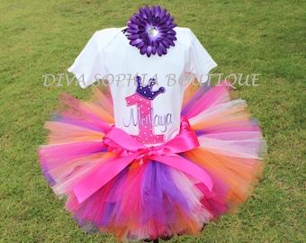 Personalized Pink and Purple Crown PrincessTutu Set  - Birthday Tutu