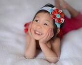 Orange Teal White Headband , Fabric Frayed Ruffle Flower  headband with rosettes and Chiffon Flower