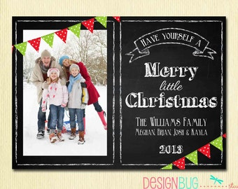 Chalkboard Photo Christmas Card - Family Xmas Card - Merry Little Christmas on Chalkboard - 1 or 2 Pictures - Printable, Digital File