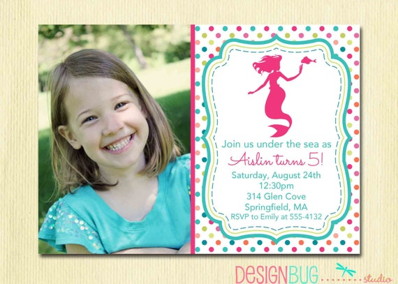 mermaid birthday invitation      year old any age, invitation samples