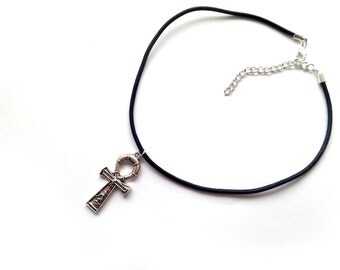 Ankh Choker Necklace, Black Leather and Silver Plated Charm Choker Necklace
