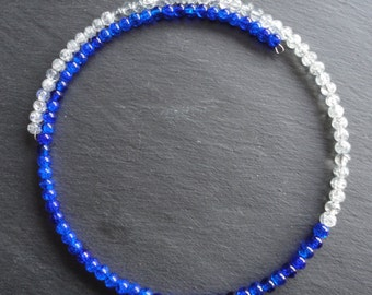 Necklace Glassbeads blue and white