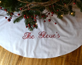 Personalized Christmas Tree Skirt - White Linen Tree Skirt - Monogrammed White Christmas Tree Skirt