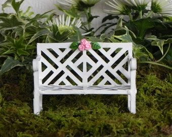 Fairy Garden Furniture Bench metal white miniature accessories with polymer clay roses