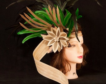 Authentic Headpiece. Perfect For Tahitian & Cook Islands Costume. Materials - Weaved Banana Bark With Lauhala And Lauhala Flower Headpiece..