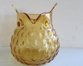 Amber Glass Hobnail Owl Vase