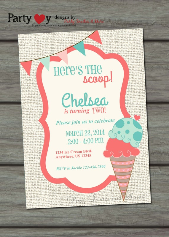 Ice Cream Invitation, Ice Cream Birthday Invitation, Ice Cream Party Invitation, Burlap Birthday Invitation