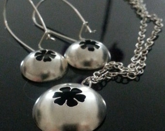 hand made sterling silver flower pendant and earrings set