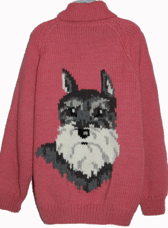 Xl Dog Sweater Knitting Pattern : Cowichan sweater pink with schnauzer dog xl by retroto on etsy