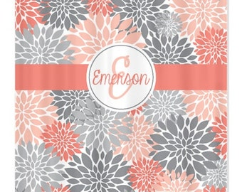 Flower shower curtain with child 9 s name initial grey coral white or
