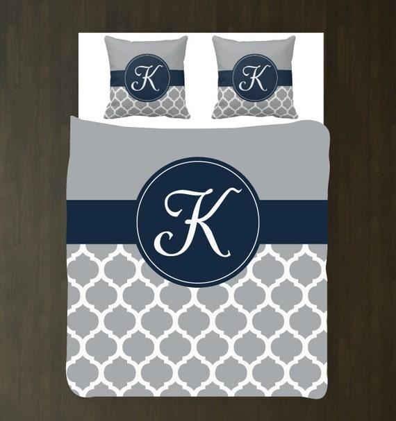 Navy Blue Grey And White Quatrefoil Woven Duvet Bedding Set