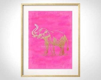 Pink Elephant Art, Elephant Print, Elephant Art, Pink Wall Art, Elephant Wall Art, Chinoiserie, Elephant Art, Bright Pink, Hot Pink Elephant