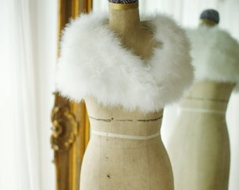 Hollywood Styling Feather Shrug/ vintage Marabou Shrug/ Bridal Shrug/ Ivory feather Shrug