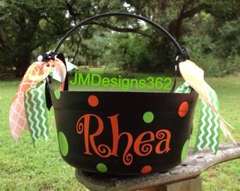 Polka Dot Halloween Bucket Personalized Cauldron
