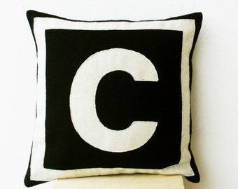Decorative Pillows -Custom Monogram Throw Pillow- Felt Pillow Cover -  Black Cream Monogram Cushion -Gift -Felt cushion -16x16 Pillow Case