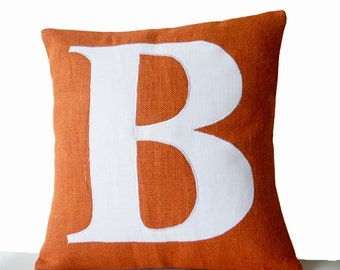 Monogram Pillow Cover, Personalized Pillow, Monogrammed Pillow, Autumn Decor, Orange Pillow, Cushion Cover, Housewarming Gift, Wedding Gift