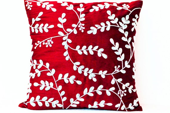 Red Silk Decorative Pillows : Decorative Pillow Cushion Cover Red Silk Throw Pillows White