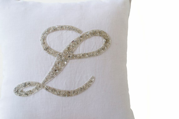 Monogram Pillow Personalize Gift White Pillow Cover Silver