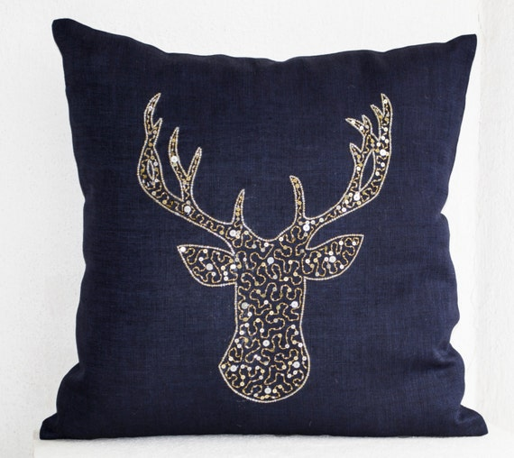 Deer Pillow Cover Stag Embroidered In Gold Silver Sequin