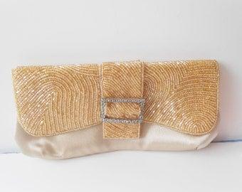 Beaded Evening Bag Vintage Champagne Beaded Clutch Handbag EB-0256
