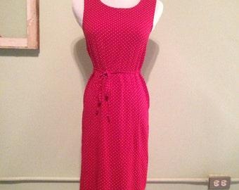 90's Midi Red Polka Dot Dress w/Belt