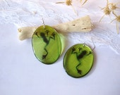 Resin Transparent Oval Green Boho Earrings with Frog