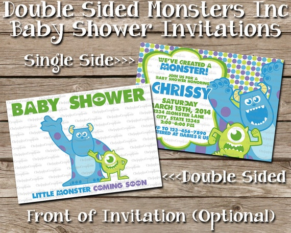 double sided monsters inc baby shower invitation add to invitation
