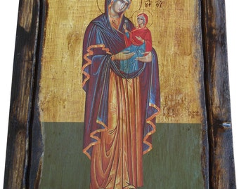 Saint St. Anne - (Full Body) - Orthodox Byzantine icon on wood handmade (22.5cm x 17cm)