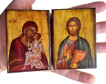 Virgin Mary - Jesus Christ - 50 small Orthodox Byzantine icons on wood for Baptism Favor (8.4 cm x 6.3 cm)