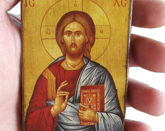 Jesus Christ - Blessing - Orthodox Byzantine icon on wood (8.4 cm x 6.3 cm)