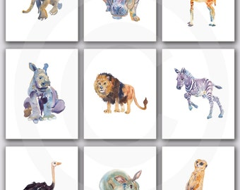 Nursery Print Set, Safari  Nursery, Animal art, Watercolor Painting, Kids Art, Childrens  Art Prints
