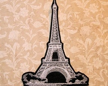 Eiffel Tower Iron On Embroidery Patch MTCoffinz