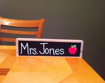 Teacher Name Desk Sign Natural Wood Style Door Hanger
