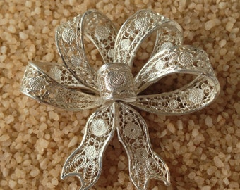 Vintage Sterling Silver Filigree Bow Pin or Brooch (st - 1061)