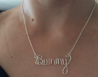 Cursive wire name necklace, personalized, wire writing, name plate
