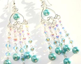 Swarovski Crystal And Fresh Water Pearls Chandelier Drop Earrings