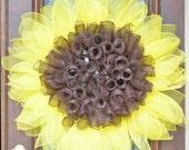 Sunflower Wreath - Sunflower Summer Fall Door Home Decor - Sunflower Deco Mesh Wreath - Sunflower Door Hanger