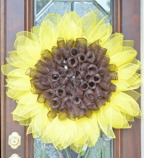 Sunflower Wreath Sunflower Summer Fall Door Home Decor