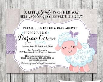 A Little Lamb Baby Shower Invite - Lavender, Purple - 5x7 JPG