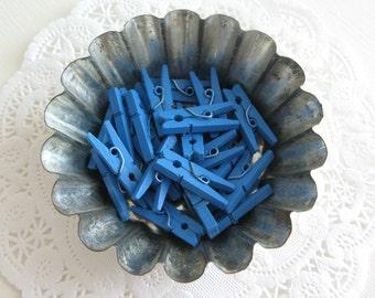 "25 Royal Blue Mini Wooden Clothespins 1"""