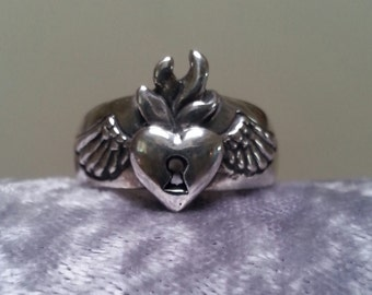 sterling silver sacred flaming heart rockabilly alternative steampunk gothic art nouveau victorian