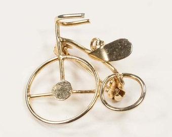 Vintage Goldtone Penny Farthing Brooch - Penny Farthing Brooch / Pendant