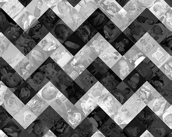 20x20 inch Chevron Pattern Photo Mosaic Collage Wall Art - Unique Decoration or Gift Created with your Digital Photos