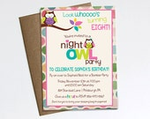 Night Owl Birthday Party Sleepover Invitation - Printable