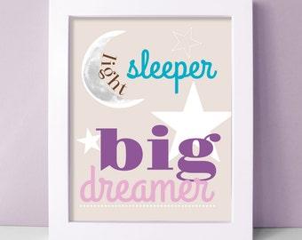 Nursery Wall Art - Light Sleeper Big Dreamer Baby Girl Nursery Art - Moon and Stars Nursery Decor - Purple Nursery Prints - Nursery Wall Art